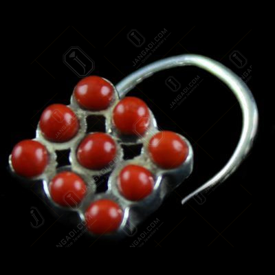SIlver Fancy Design Nose pin Studded Multi Stones
