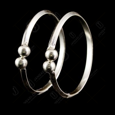 Silver Oxidized Floral Design Baby Bangle