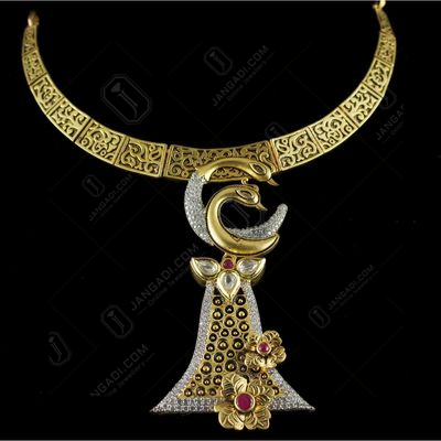 Antique Design Gold Plated Peacock Necklace