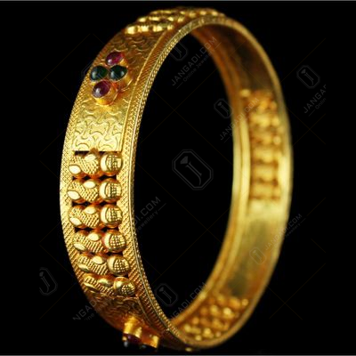 Silver Gold Plated Fancy Floral design Kada Bangle Studded Red And Green Onyx