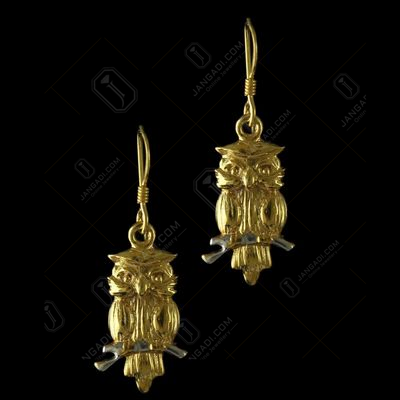 92.5 Sterling Silver Gold Plated Owl Design Hanging Earrings