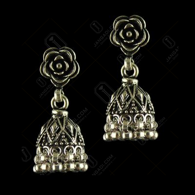 92.5 Oxidized Floral Design Jhumka Earrings