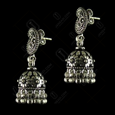 92.5 Gold Plated Floral Design Jhumka Earrings