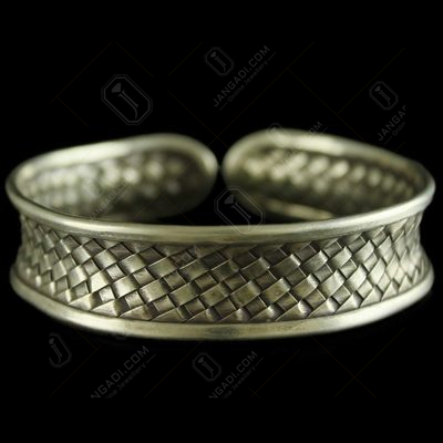Silver Oxidized Fancy Design Kada Bangle