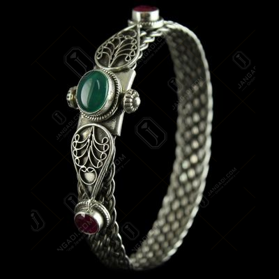 Silver Oxidized Screw Bangle Studded Red And Green Onyx