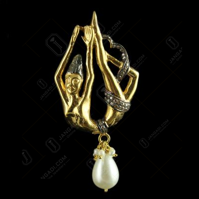 Silver Gold Plated Fancy Design Pendant Studded Zircon Stones An