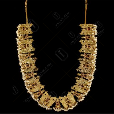 Gold Plated Peacock Floral Necklace Studded Semi Precious Stones