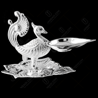 Silver Leaf Design Peacock Lamp