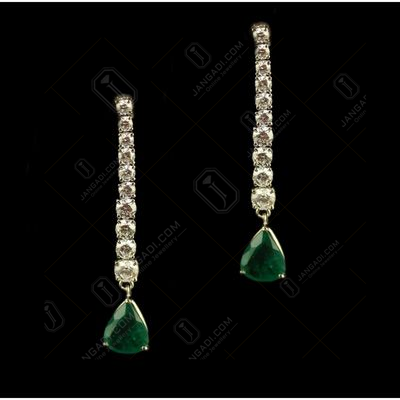 Silver Swarovski Zirconia And Green Stone Earrings