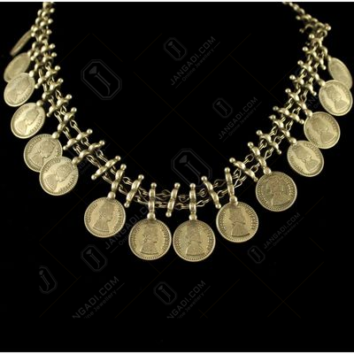 Silver Oxidized Fancy Design Coin Necklace