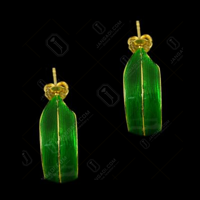 Silver Gold Plated Leaf Design Casual Earring Green Enamel