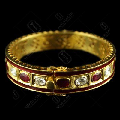 Silver Gold Plated polki Stone Bangle Ruby Oval Polki CZ