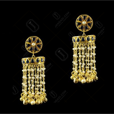 Silver Gold Plated Fancy Design Earrings Red Pearl