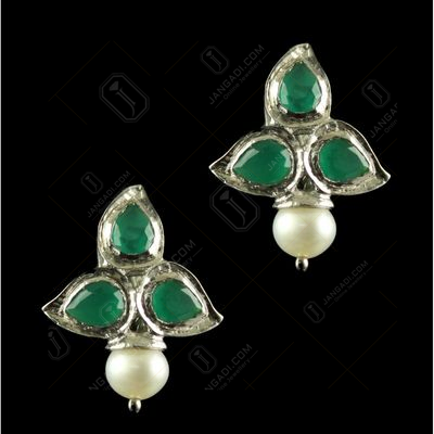 Silver Plated Fancy Design Earrings Green Pear Pearl 4.5mm