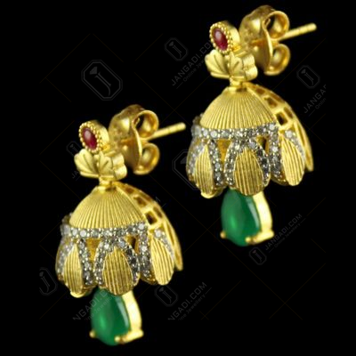 Silver Gold Plated Floral Design Green onyx And Zircon Stones