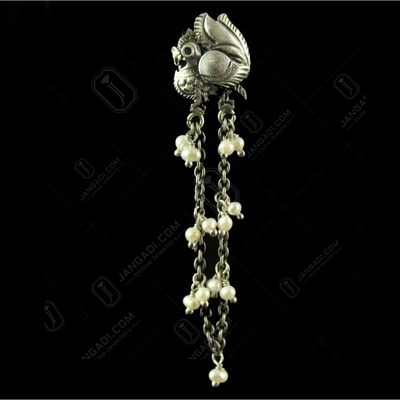 Silver Plated Fancy Design Earrings Pearl Round 2.5mm