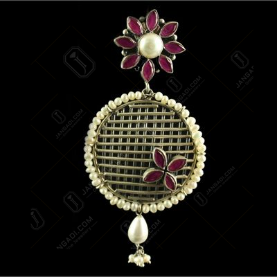 Silver Plated Fancy Design Earrings Red Marquise Pearl 7mm Pearl 2.5mm Pearl Drop 6X9