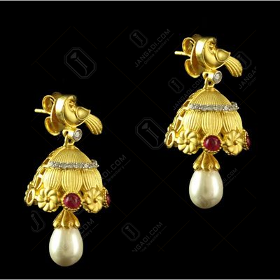 Silver Gold Plated Fancy Design Jhumka Studded Red Onyx ,Zircon And Pearls