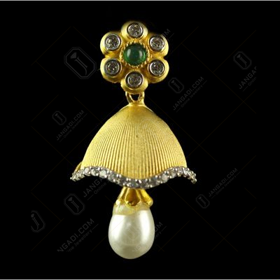 Silver Gold Plated Floral Design Jhumka Studded Red Onyx,Ruby And Zircon Stones