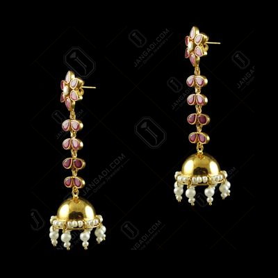 Silver Gold Plated Jumkas Red Onyx Marwuise Red Pearl Cab Pearl 2.5mm Pearl 4.5mm