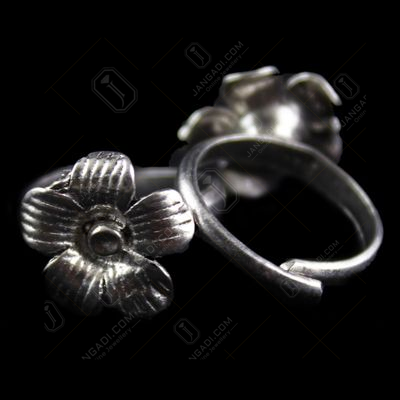 Silver Antique Design Oxidied  Toe Rings