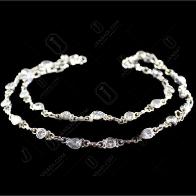 Silver Oxidized Antique Design Anklets studded zircon And Green,red Onyx Stones
