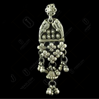 Silver Oxidized Antique Design Hanging Jhumka