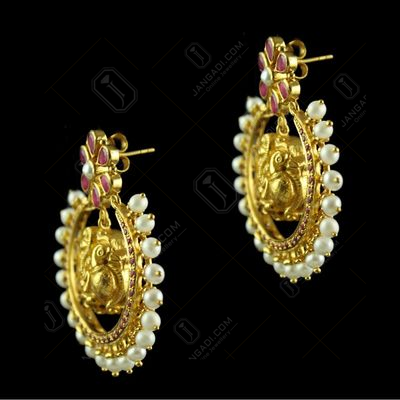 Silver Gold Plated Floral Design Earring Drops Studded Red Onyx And Pearls