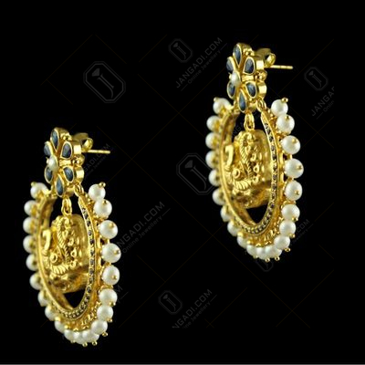 Silver Gold Plated Floral Design Earring Drops Studded Blue Onyx And Pearls