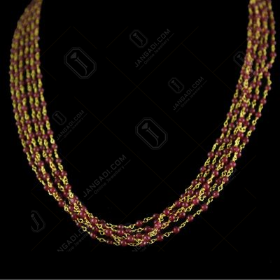 Silver Gold Plated Red Beads Bunch Chain