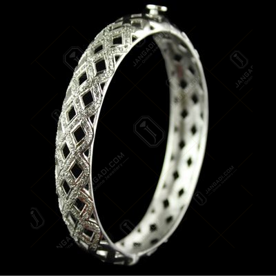 Silver  Zircon Stone Screw Bangles