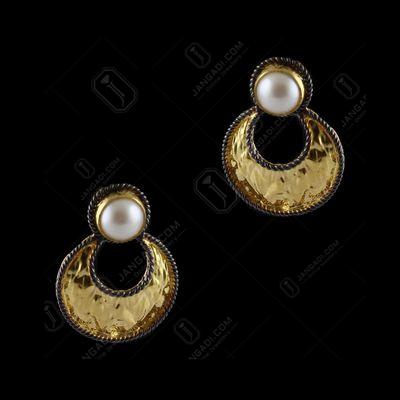Gold Plated Chandbali Earrings With Pearls