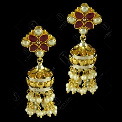 Silver Gold Plated Fancy Design Earring Jhumka Studded Red Onyx And Pearl Beats