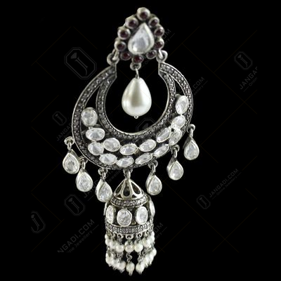 Silver Gold Plated Fancy Design Hanging Earring Jhumka Studded Polki Stones With Pearls