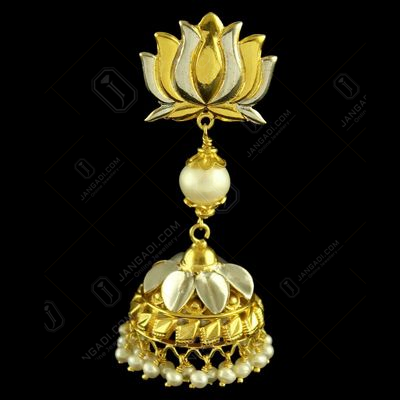 GOLD PLATED LOTUS JHUMKAS EARRINGS WITH PEARLS