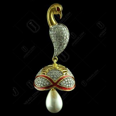 Gold Plated Peacock Jhumka With Semi Precious Stones
