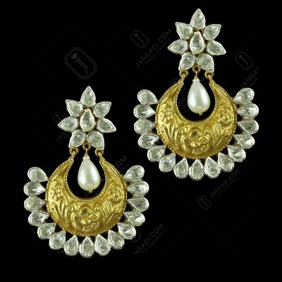 Gold Plated Earring Drops Polki Stones