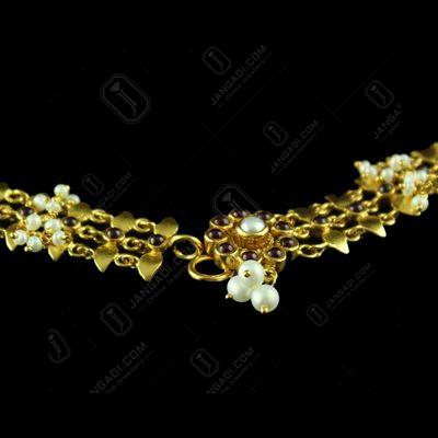 Gold Plated Anklet With Pota Stone And Pearl