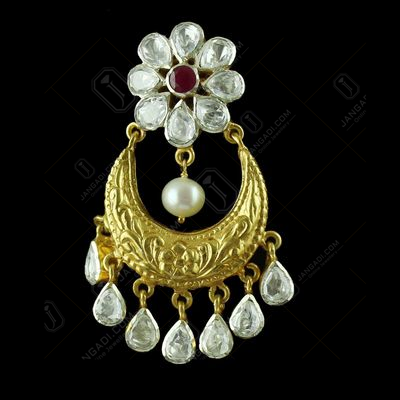 Gold Plated Earring Drops Studded Zircon Stones And Pearls