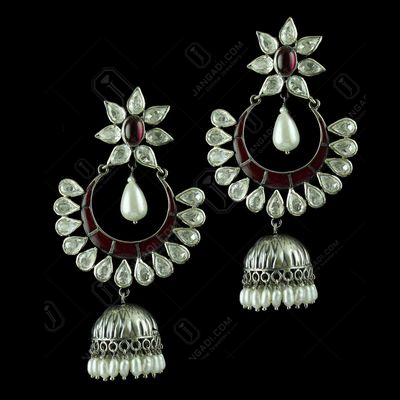 Gold Plated Polki Drops Earring With Red Stone And Pearl