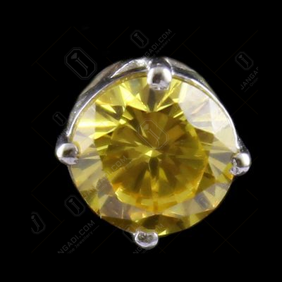 Silver Casual Earring Studded Yellow Zircon Stone