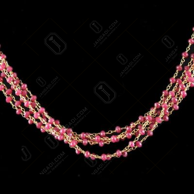 Silver Red Colour Bunch Necklace