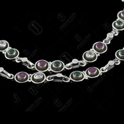 Silver Fancy Design Anklets Studded With Red And Green Onyx