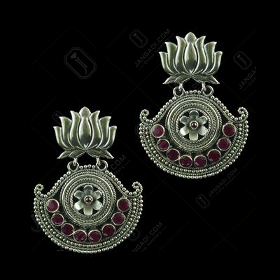 Silver Oxidized Floral Design Earring Studded Red Onyx Stones