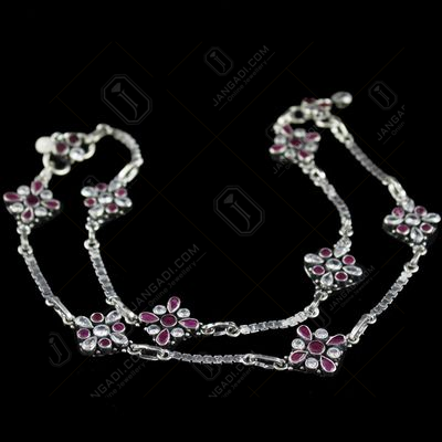 Silver Oxidized Anklets Studded Red Onyx And Zircon Stones