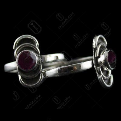 Silver Fancy Toe Ring Studded Zircon Stones