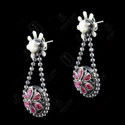oxidized earring Drops red Corundum