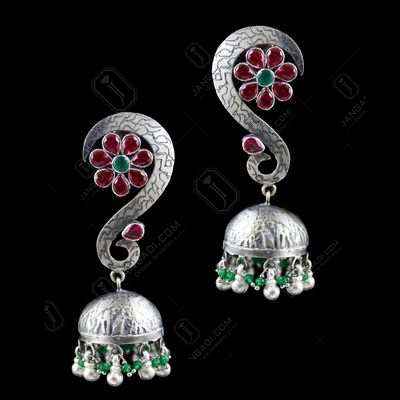 Oxidized Jhumka Studded Red And Green Corundum Stones