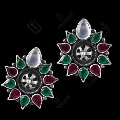 ONYX STONE FLORAL FANCY EARRING