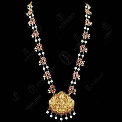 Gold Plated God Lakshmi Necklace Studded Pearls